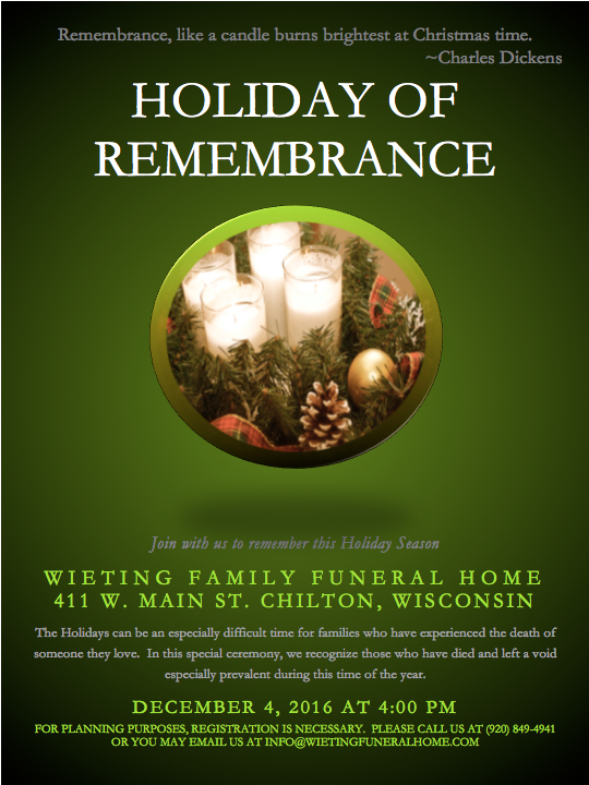 Wieting Family Funeral Home About Us Events
